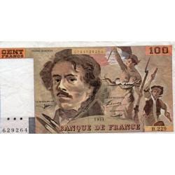"""FRANCE - PICK 154 - 100 FRANCS DELACROIX 1993 - TYPE 1978 - """"imprimé en continu"""""""
