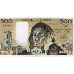 FRANCE - PICK 156 - 500 FRANCS PASCAL - 04/09/1980 - O.123