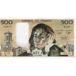 FRANCE - PICK 156 - 500 FRANCS PASCAL - 04/09/1980 - K.119