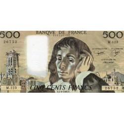 FRANCE - PICK 156 - 500 FRANCS PASCAL - 04/09/1980 - M.123