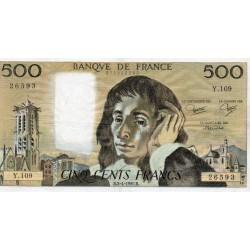 FRANCE - PICK 156 - 500 FRANCS PASCAL - 04/09/1980 - Y.109