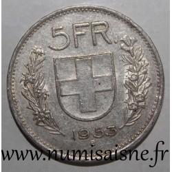 SWITZERLAND - KM 40 - 5 FRANCS 1953 B - SHEPHERD'S HEAD