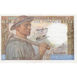 FRANCE - PICK 99 - 10 FRANCS MINEUR - TYPE 1941 - 09/09/1943