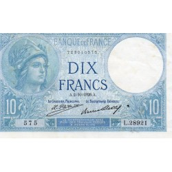 FRANCE - PICK 73 - 10 FRANCS MINERVE - TYPE 1915 - 02/10/1926