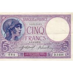 FRANCE - PICK 72 - 5 FRANCS VIOLET - TYPE 1917 - 02/04/1918