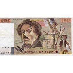 FRANCE - 100 FRANCS DELACROIX - TYPE 1978 MODIFIED - 1989 - PICK 154