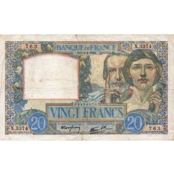 FRANCE - PICK 92 - 20 FRANCS SCIENCE ET TRAVAIL - TYPE 1940 - 03/04/1941