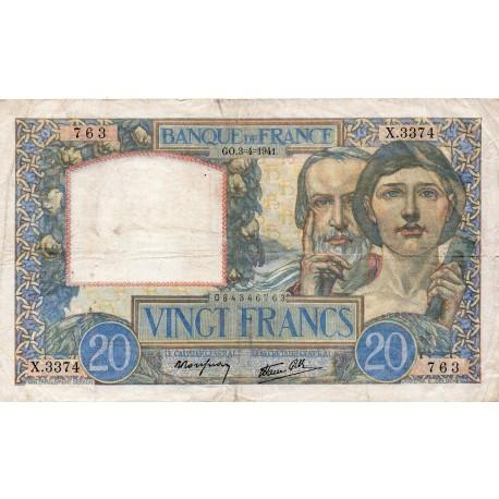 FRANCE - PICK 92 - 20 FRANCS SCIENCE ET TRAVAIL - TYPE 1940 - 03/04/1941