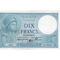 FRANCE - PICK 84 - 10 FRANCS MINERVE - 26/10/1939