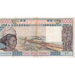"""WEST AFRICAN STATES - IE HOW - PICK 108 A m - 5.000 FRANCS 1985 - """"A"""" - B C E A O"""