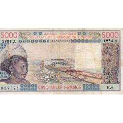 """WEST AFRICAN STATES - IE HOW - PICK 108 A L - 5.000 FRANCS 1984 - """"A"""" - B C E A O"""