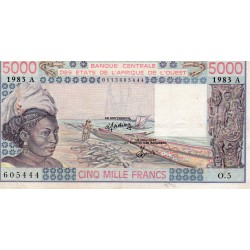 """WEST AFRICAN STATES - IE HOW - PICK 108 A k - 5.000 FRANCS 1983 - """"A"""" - B C E A O"""