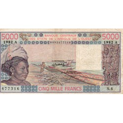 """WEST AFRICAN STATES - IE HOW - PICK 108 A i - 5.000 FRANCS 1982 - """"A"""" - B C E A O"""