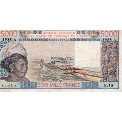 """WEST AFRICAN STATES - IE HOW - PICK 108 A f - 5.000 FRANCS 1988 - """"A"""" - B C E A O"""
