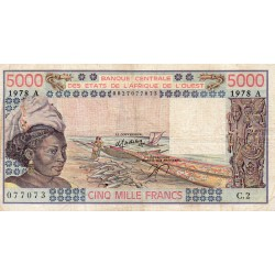 """WEST AFRICAN STATES - IE HOW - PICK 108 A b - 5.000 FRANCS 1978 - """"A"""" - B C E A O"""