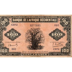 FRENCH WEST AFRICA - PICK 31 a - 100 FRANCS - 14/12/1942