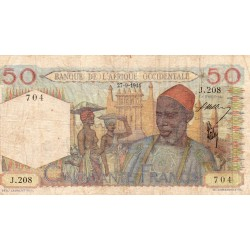 FRENCH WEST AFRICA - PICK 39 - 50 FRANCS - 27/09/1944