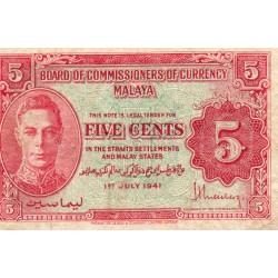 MALAYSIA - MALAYA - PICK 7 b - 5 CENTS - 01/07/1941