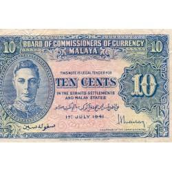 MALAYSIA - MALAYA - PICK 8 - 10 CENTS - 01/07/1941
