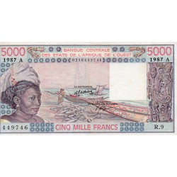 """WEST AFRICAN STATES - IE HOW - PICK 108 A p - 5.000 FRANCS 1987 - """"A"""" - B C E A O"""