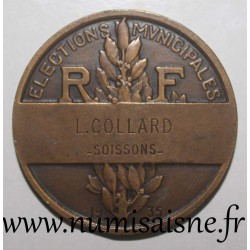 MEDAILLE - POLITICS - County 02 - SOISSONS - MUNICIPAL ELECTIONS - 1935