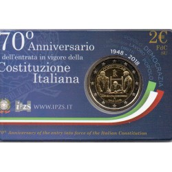 ITALY - 2 EURO 2018 - 70 YEARS OF CONSTITUTION - COINCARD