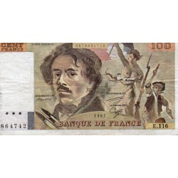 FRANCE - PICK 154 - 100 FRANCS DELACROIX - 1987