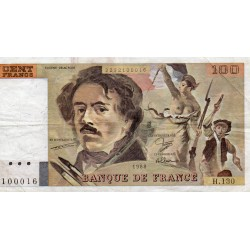 FRANCE - 100 FRANCS DELACROIX - TYPE 1978 MODIFIED - 1989 - PICK 154