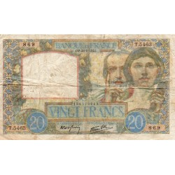 FRANCE - PICK 92 - 20 FRANCS SCIENCE ET TRAVAIL - 28/08/1941