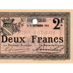 County 10 - TROYES - 2 FRANCS - 08/09/1914