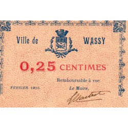 County 52 - WASSY - 25 CENTIMES - FebruarY 1916