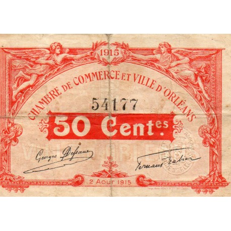 County 41 - ORLEANS - 50 CENTIMES 1915 - 02.08 - CHAMBER OF COMMERCE