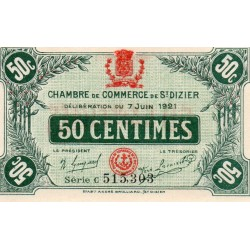 COUNTY 52 - ST DIZIERS - 50 CENTIMES 1921 - 07.06 - CHAMBER OF COMMERCE