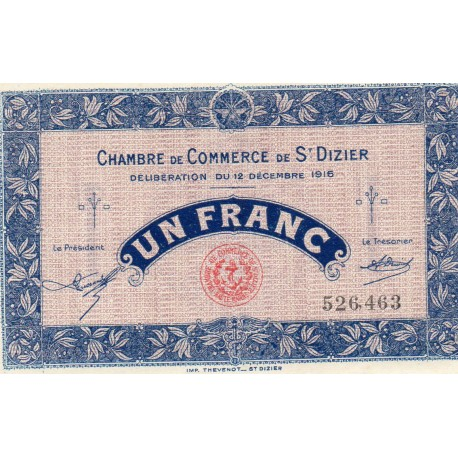 COUNTY 52 - ST DIZIERS - 1 FRANC 1916 - 12.12 - CHAMBER OF COMMERCE