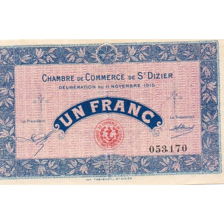 COUNTY 52 - ST DIZIERS - 1 FRANC 1915 - 11.11 - CHAMBER OF COMMERCE