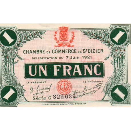 COUNTY 52 - ST DIZIERS - 1 FRANC 1921 - 07.06 - CHAMBER OF COMMERCE