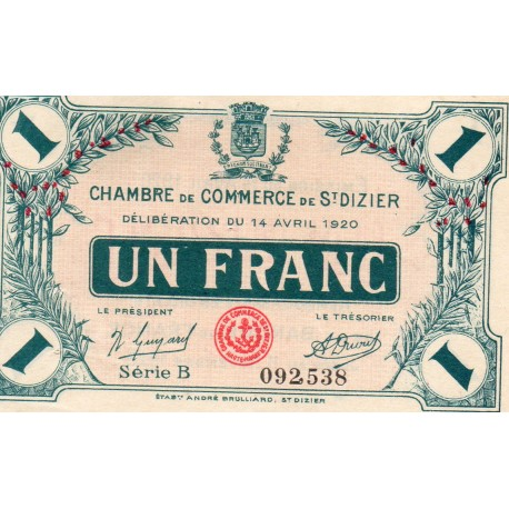 COUNTY 52 - ST DIZIERS - 1 FRANC 1920 - 14.04 - CHAMBER OF COMMERCE