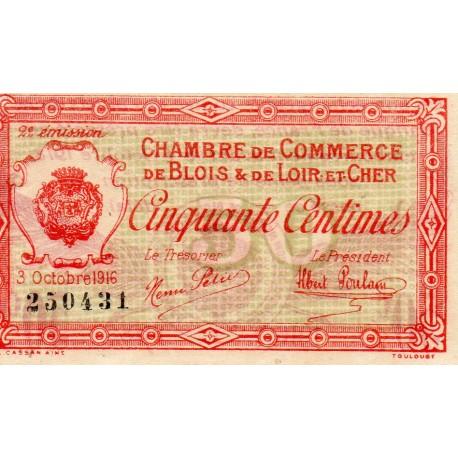COUNTY 41 - BLOIS ET LOIR-ET-CHER - 50 CENTIMES 1916 - 03.10 - CHAMBER OF COMMERCE