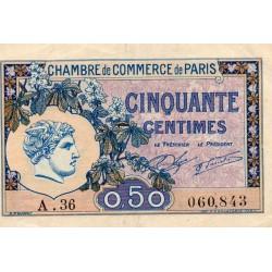 75 - PARIS - 50 CENTIMES 1920 - PARIS CHAMBER OF COMMERCE