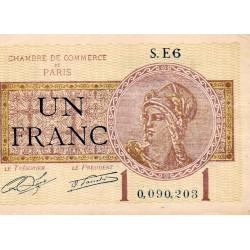 75 - PARIS - 1 FRANC 1919 - PARIS CHAMBER OF COMMERCE