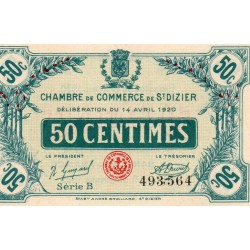 COUNTY 52 - ST DIZIERS - 50 CENTIMES 1920 - 14.04 - CHAMBER OF COMMERCE