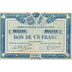 County 29 - QUIMPER - BREST - 1 FRANC 1920 - CHAMBER OF COMMERCE