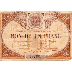 County 44 - NANTES - 1 FRANC 1918 - CHAMBER OF COMMERCE
