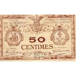 County 22 - ST BRIEUC - 50 CENTIMES 1918 - CHAMBER OF COMMERCE
