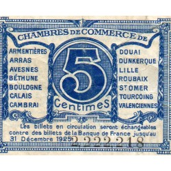 County 59-62 - NORD - PAS DE CALAIS - 5 CENTIMES 1918 - CHAMBER OF COMMERCE