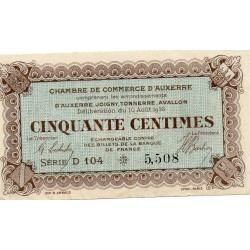 COUNTY 89 - AUXERRE - 50 CENTIMES 1916 - CHAMBER OF COMMERCE