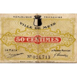 COUNTY 57 - METZ - 50 CENTIMES 1918 - 27.12 - CHAMBER OF COMMERCE