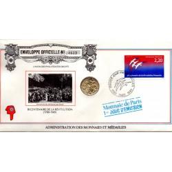 "FRANCE - ENVELOPE 1st DAY ""TIMBRE MEDAILLE"" - BICENTENNIAL OF THE REVOLUTION (1789-1989) - MONNAIE DE PARIS"