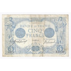 FAY 02/28 - 5 FRANCS BLEU - 09/06/1915 - CANCER - TRES TRES BEAU - PICK 70