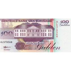 SURINAME - PICK 139 b - 100 GULDEN - 10/02/1998
